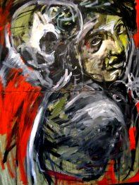 Morte apparente tecnica mista su tele 90 x 120 Emiliano Marinucci 2010